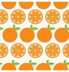Orange fruit set with leaf in a row Cut half vector image
