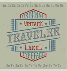 Original label typeface vector