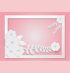 paper art style of flowers with vines on a white vector image