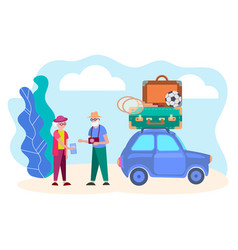 pensioners are going to travel vector image