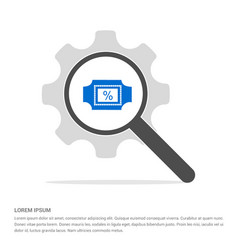 percentage icon search glass with gear symbol vector image