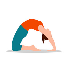Pigeon position of yoga white vector
