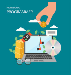 Professional programmer flat style design vector