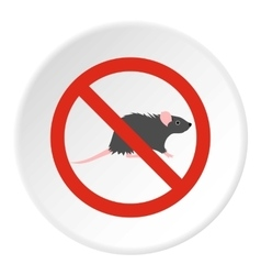 Prohibition sign mouse icon flat style vector image