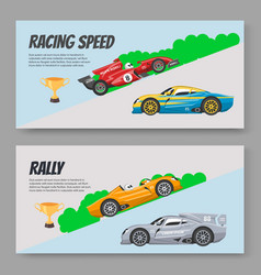 rally and karting racing speed cars vector image