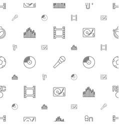 record icons pattern seamless white background vector image