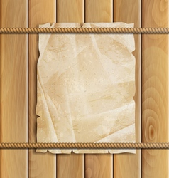 Rope paper and wood background vector