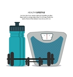 Scale weight and bottle icon Healthy lifestyle vector