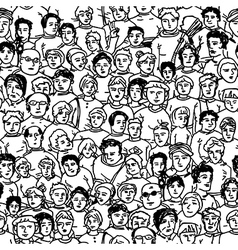 Seamless crowd pattern vector