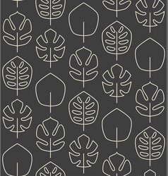 seamless pattern made of minimalistic linear palm vector image