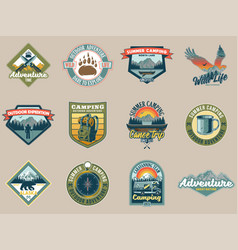 Set collection vintage camping travel badges vector