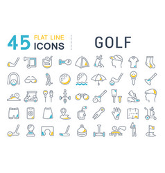 set line icons golf vector image