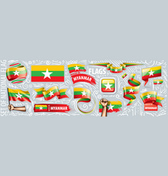 Set national flag myanmar in vector
