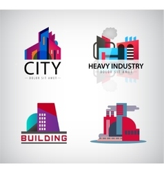 Set of colorful building logos icons vector