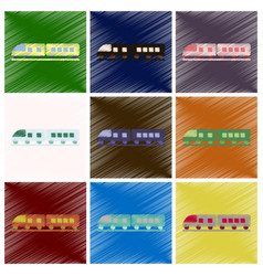 set of flat icons in shading style train vector image
