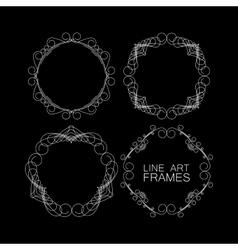 set of floral monogram frames line art vector image
