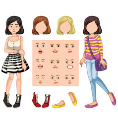 set of girl with different facial expression vector image