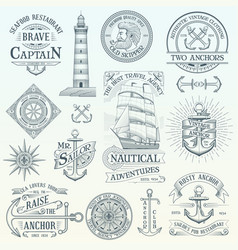 set of vintage nautical labels vector image
