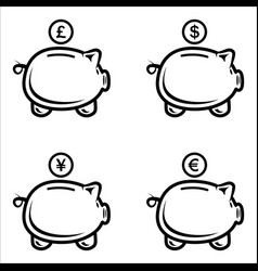 set piggy bank in a flat style piggy bank vector image