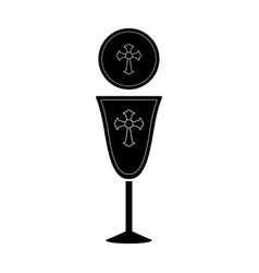 Silhouette of a communion cup and host vector