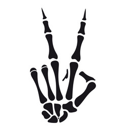 Skeleton hand victory sign vector