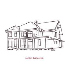 Sketch of wooden house vector