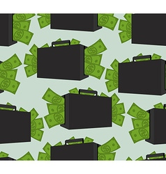 Suitcase with money seamless pattern Case with vector image