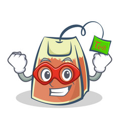 Super hero tea bag character cartoon vector