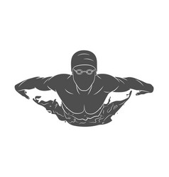 Swimmer butterfly silhouette vector
