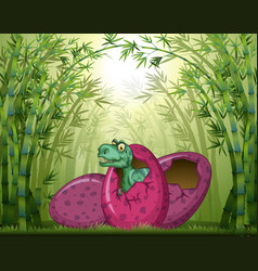 T-rex hatching egg in bamboo forest vector
