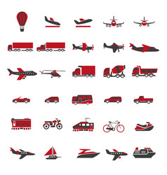transport and vehicles flat isolated icons vector image