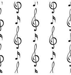 treble clef and notes musical seamless pattern vector image