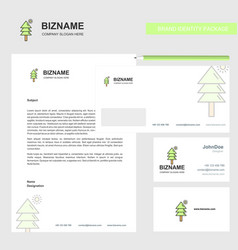 Tree business letterhead envelope and visiting vector