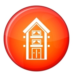 Two-storey house with balconies icon flat style vector