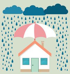 Umbrella under rain protecting house insurance vector