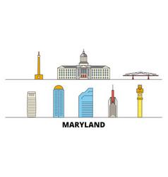 United states maryland flat landmarks vector