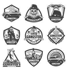 Vintage gangster labels set vector