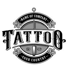 Vintage tattoo studio emblem 4 for white vector