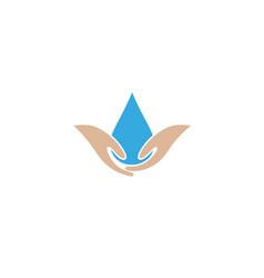 Water care hands holding drop logo design symbol vector