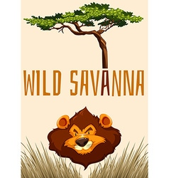 Wild Savanna with lion and tree vector image