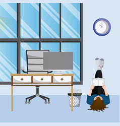 Woman reading a book from home vector