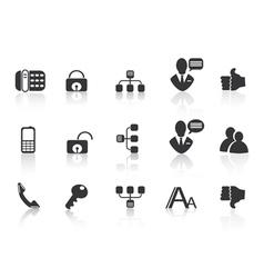 black Communication icons vector image