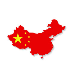 China flag map with shadow effect vector image vector image
