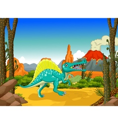 funny dinosaur cartoon with forest background vector image