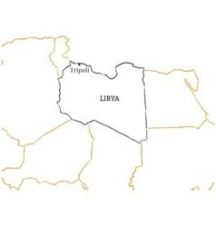 Libya hand-drawn sketch map vector
