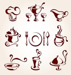 restaurant elements set vector image