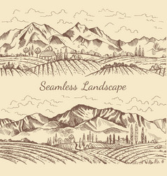 seamless pictures of nature landscape vineyard or vector image vector image