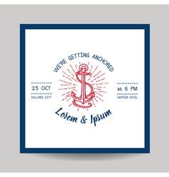 Wedding Invitation Card - Save the Date - Marine vector image