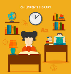 childrens library composition vector image vector image
