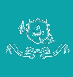 Creative marine emblem shield anchor and steerin vector